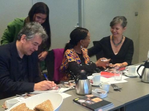 Ambassador Lionel Veer signing Tep Vanny's book