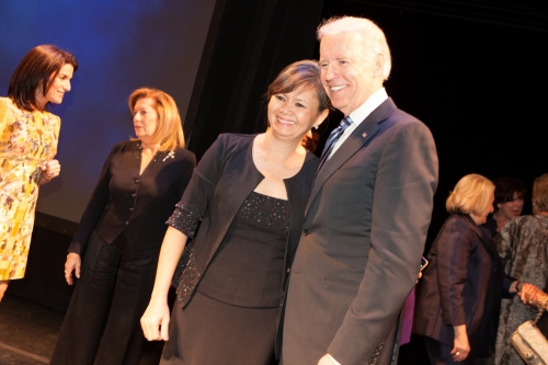 Meeting VP Joe Biden on stage-Vital voices Global Leadership Award gala-2 April, 2013