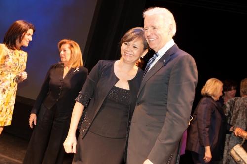 Meeting VP Joe Biden on stage-Vital voices Global Leadership Award gala-2 April, 2013
