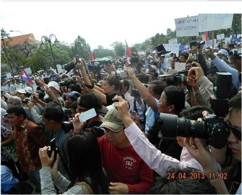 Media at the mass demonstration.