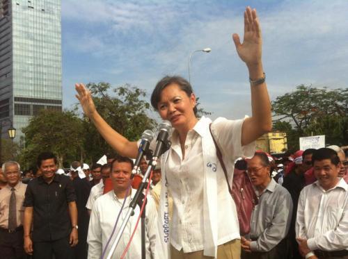 Mu Sochua- keeping the crowd under control