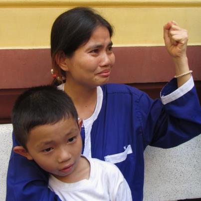Yorm Bopha and her son in court-March 2013.