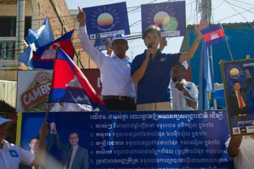 Mu Sochua campaigning in rural Cambodia for re-election