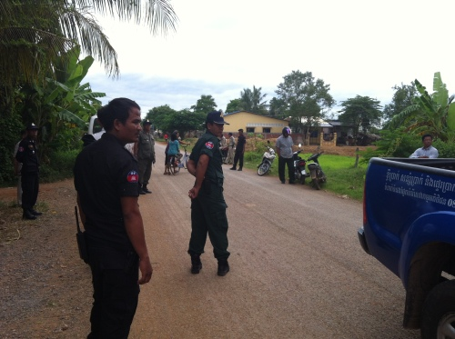 Police were preventing villagers from approaching the forum