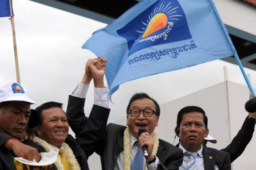 Sam Rainsy and Kem Sokha at freedom Park