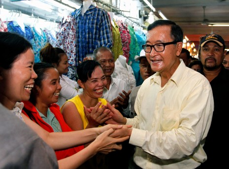 Sam Rainsy at Toul Tampoung market