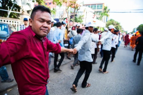 Youth volunteers maintain order
