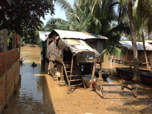 One of the affected villages on the Sanke River-Battambang