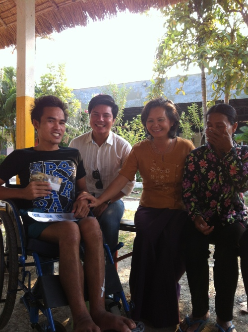 Speaking of hope and justice with Heun Chan at the Rehabilitation Center, with Sophorn Larry and Chan's mother.