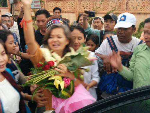 At the prison gate after release on 22 July,2014