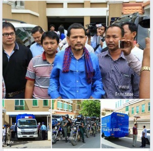The defendants and the police force at Phnom Penh Court- 20/0715