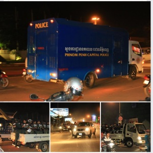 Heavy police forces deployed along road to Phnom Penh Onternational Airport awaiting return of Mr. Sam Rainsy-16/11/15